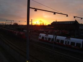 Trainyards and sunset by OENOM
