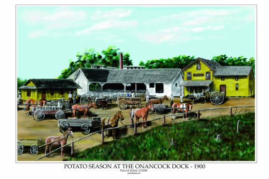 Potato Season at the Onancock Wharf - 1900 by Belote-Art