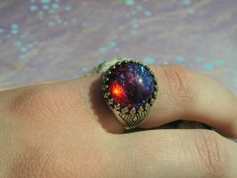 Flashing Fire Opal Ring in ox SS crowned setting by artistiquejewelry