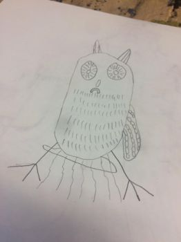Feeling drawing of lonely owl  by Chrisart1