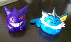 Gengar and Vaporeon chubbies by scilk