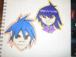 G- 2D and Noodle Headshots by HoneyAppleNinja