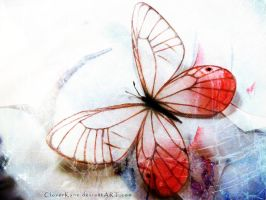 Pink Glasswing Butterfly by CloverKane