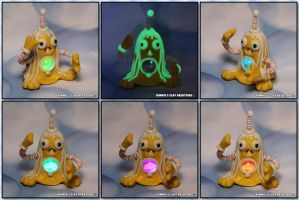 Polymer Clay Monster Glow in the Dark and LED by KIMMIESCLAYKREATIONS