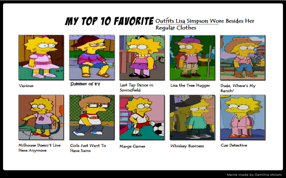 My Top 10 Lisa Simpson Outfits by Prentis-65