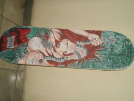 Bionic Woman drawing on skateboard by Juh123666