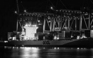 Hamburg Container Ship Black And White by sandor99