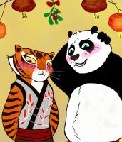 Po and Tigress TiPo under the mistletoe by Nilusanimationworld