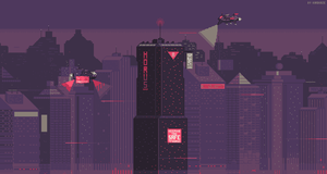 Cyberpunk city 8-bit version by kirokaze