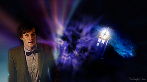 Eleven and the TARDIS by MidknightStarr