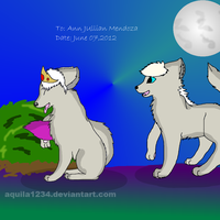 Two Wolves Under the Moon~Art Request by starrytesukidust