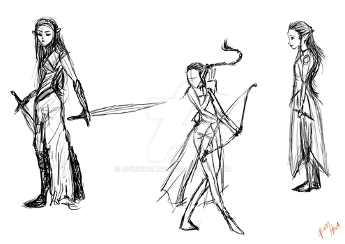 Elf girl sketches by OpiumHeart