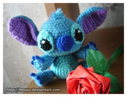 Stitch with Red Rose by imuya