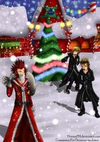 Commission - Merry Chrismast Axel,Roxas,Demyx by HensenFM