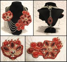 Poinsettia Holiday Necklace by Thy-Darkest-Hour