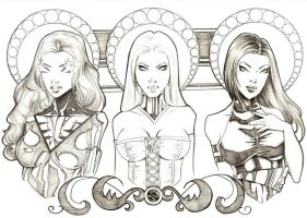 Phoenix, Emma and Psylocke by j-mack