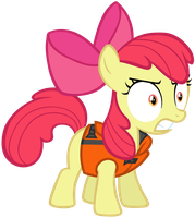 Angry Apple Bloom in a Life Vest by SilverMapWolf