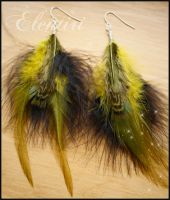 Moss Green and Black Feather Earrings by Aeltari
