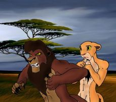 Kovu protects kiara by K-o-v-u