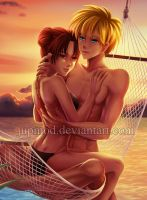 NaruTen: Hammock Cuddling at Sunset (Close-up) by JuPMod