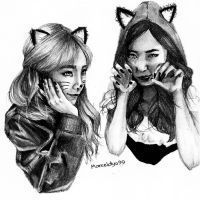 Taeny - Red riding hooded foxes by marceldyo99