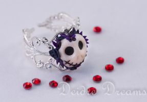 Flowers for the Dead Sugar Skull Ring by DeidreDreams