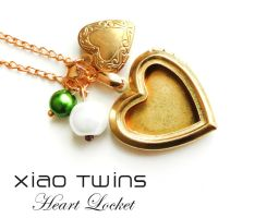 Brass Heart Picture Locket Pearl Beads Necklace by crystaland