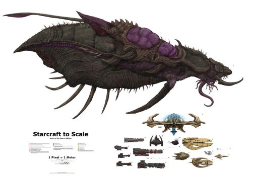 Starcraft to Scale: Capital Ships (old) by xiaorobear