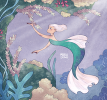 Mermaid and Corals by MargaDraws