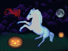 Ghostly Halloween Horse by WildHorseFantasy