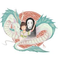 Spirited Away - Haku, Chihiro and No-Face by Ashcoloured