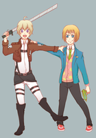 Crossover Haru and Armin by clau2586