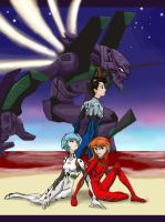 Evangelion 01 and Pilots by virgiliArt