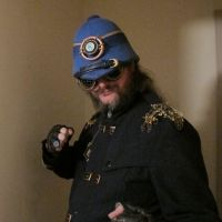 Steampunk Blue Lantern Pith Helmet 11 by Windthin