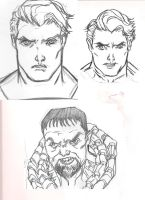 Man of steel sketches of Clark and Zod by southpawdragon