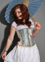 Blue Green Corset by lovedthePilgrimSoul