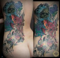 Koi flower skull half back sleeve in prog. by 2Face-Tattoo
