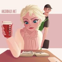The Barista and The Crustomer by archibaldart