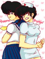 Ranma + Ryoga = School girl + Nurse by naruvane-san