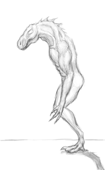 Rough Practice Sketch - Lizard/Human Anatomy by Zicorth