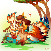 Girl and her griffin by GDBee