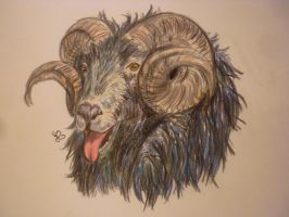 silly blue mountain goat by viveie
