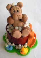 Monkey In Bathtub Cake Topper by HeartshapedCreations