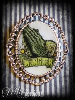 Pray for the Monster Brooch by FrillsandMorbidity