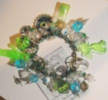Alien Chunky Charm Bracelet one of a kind by grimdeva