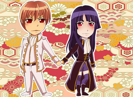 Gintama SS: Chibi Okita and Nobume by BloodSttar