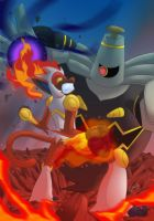 Infernape vs Dusknoir by lozanoaj