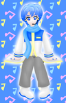 Vocaloid Kaito sitting colored by MikariStar