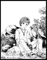boy and small animal by kinly
