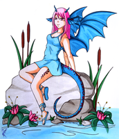 Collab - Dragongirl by aoi-ryu